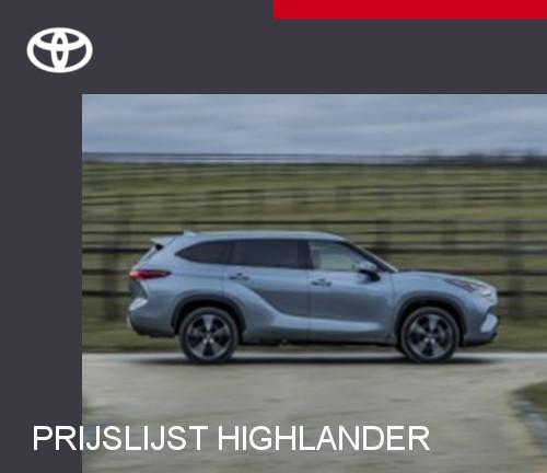 Mengelers Toyota Highlander - Prijslijst