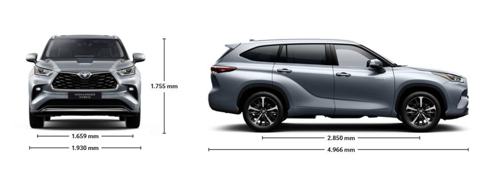 Mengelers Toyota Highlander - Afmetingen